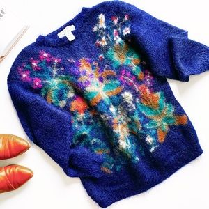 Vintage cozy fuzzy mohair floral colorful sweater